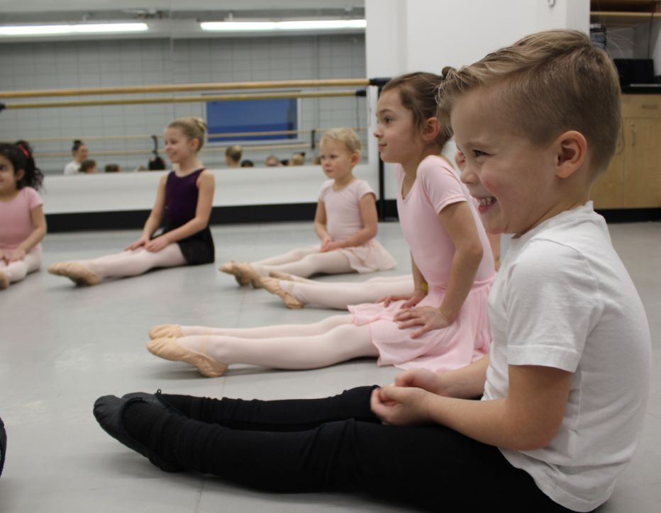 Junior ballet students in class